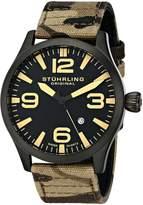 Stuhrling Original Men's 141C.02 Aviator Swiss Quartz Brown Camouflage Canvas Watch