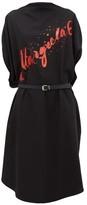 MM6 MAISON MARGIELA Glitter-logo Wool-crepe Midi Dress - Womens - Black Multi