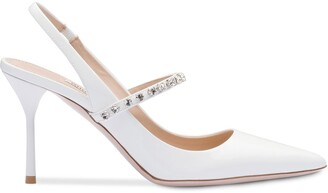 Miu Miu Crystal-Embellished Slingback Pumps
