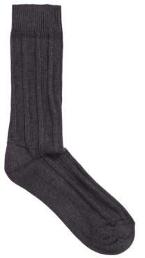 BOSS Cotton-blend boot socks with ribbed structure