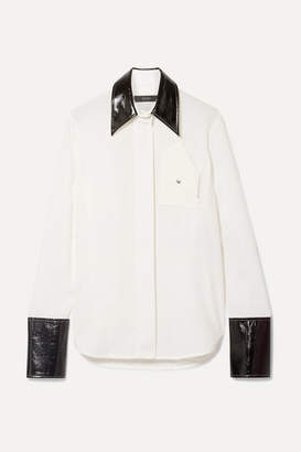 Ellery Thesis Oversized Faux Patent Leather-trimmed Crepe Shirt - Ivory