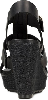Clarks Maritsa95 Glad Leather Platform Wedge Sandal - Black