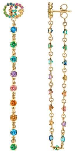 Gucci Double-G Multistone Chain Stud Earrings