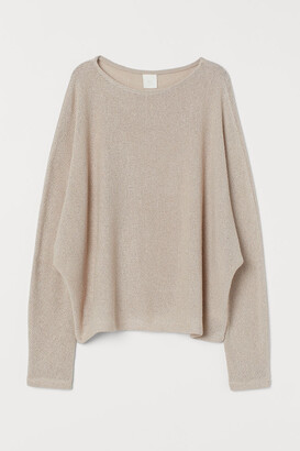 H&M Dolman-sleeved Top - Beige