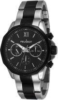 Peugeot Mens Black Stainless Steel Link Bracelet Watch 1046TBK