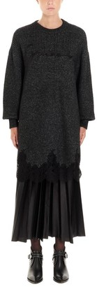 Givenchy Logo Embroidered Lace Scalloped Sweater Dress