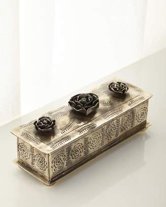 J. Alexander Rustic Silver Medium Stamped Rose Pencil Box