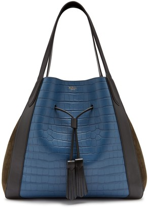 Mulberry Millie Tote Black Matte Croc, Silky Calf and Suede