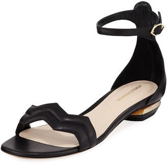 Nicholas Kirkwood Chevron Leather Flat Sandals