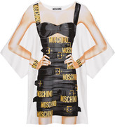 Moschino Oversized Printed Cotton-blend Jersey Mini Dress - White