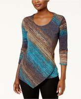JM Collection Diagonal Stripe Metallic Asymmetrical-Hem Tunic, Created for Macy's