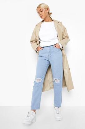 boohoo High rise Distressed Straight Leg Jean