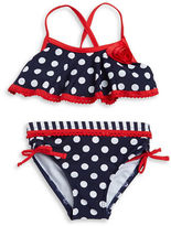 Flapdoodles Girls 7-16 Polka Dot Flutter Bikini Swimsuit Set