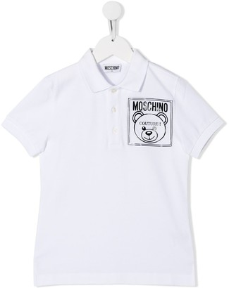 MOSCHINO BAMBINO Teddy Logo Printed Polo Shirt