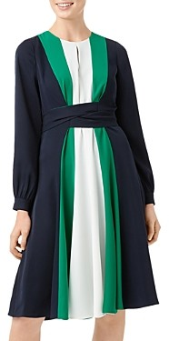 Hobbs London Lyla Color-Block Tie-Waist Dress