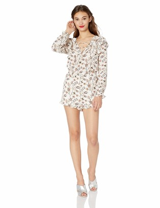 Jack by BB Dakota Womens Garden Party Printed CDC Romper w/lace up