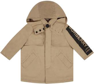 Burberry Biege Babyboy Trench Coat With Logo