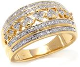 Diamonds Unleashed by Kara Ross 0.27ctw Diamond Alternating Band Vermeil Ring