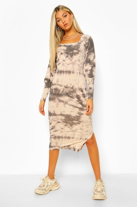 boohoo Tall Rib Tie Dye Square Neck Midi Dress