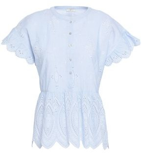 Joie Cerelia Striped Broderie Anglaise-trimmed Cotton Top