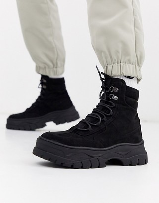 Asos DESIGN lace up boot in black faux nubuck with chunky sole