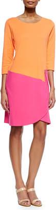Joan Vass 3/4-Sleeve Colorblock Dress