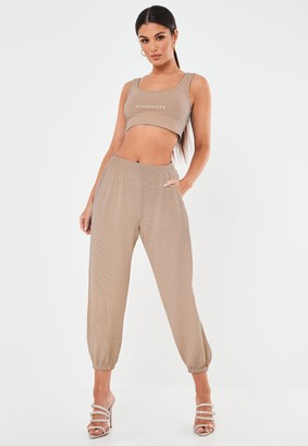 Missguided Stone Oversized Ribbed Joggers
