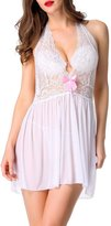 Happy Co. Happy&co Women's Sexy Lingerie Lace Mesh Halter Chemise with G-String -3XL