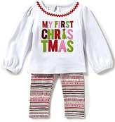 Mud Pie Baby Girls 3-12 Months My First Christmas Top and Printed Leggings Set