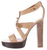 Lanvin Karung & Ostrich Leg Platform Sandals