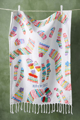 Anthropologie Warm Wishes Dish Towel By in White Size DISHTOWEL