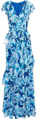 Badgley Mischka Belted Ruffled Printed Chiffon Gown