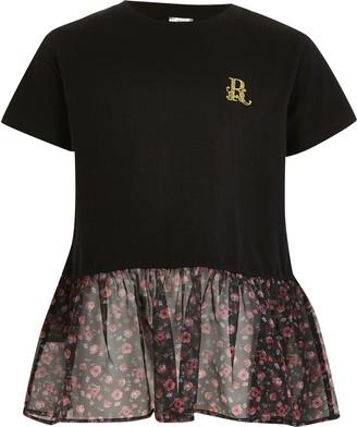 River Island Girls Black floral organza peplum T-shirt