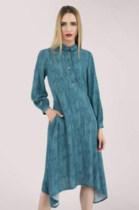 Closet London Blue Hanky Hem Buttoned Shirt Dress - 8 | viscose | blue - Blue/Blue