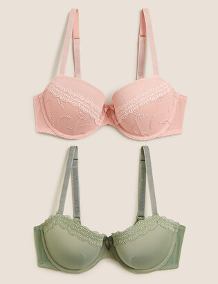 Marks and Spencer 2 Pack Embroidered Push-Up Balcony Bras A-E