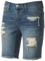 Mudd Juniors' Crochet Ripped Bermuda Jean Shorts
