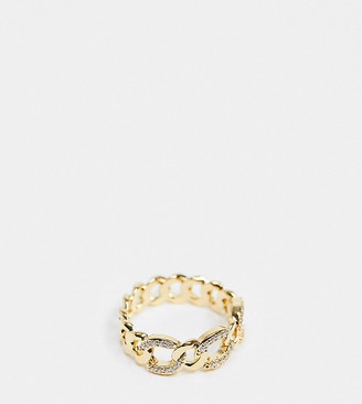 Orelia chunky chain ring in gold plate with crystals