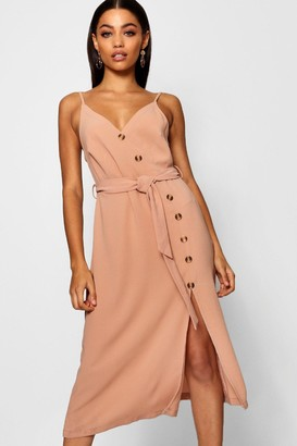 boohoo Button Front Woven Cami Dress