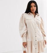 Asos DESIGN Curve cord popper mini dress with pephem