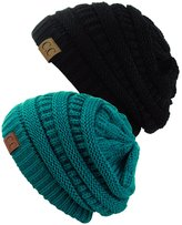 NYFASHION101 Unisex Trendy Warm Chunky Soft Stretch Cable Knit Slouchy Beanie Skully