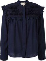 Sea embroidered tassel blouse