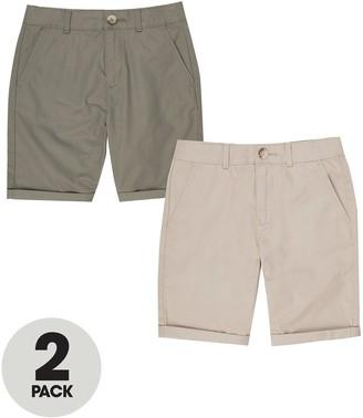 River Island Boys 2 Pack Chino Shorts-Stone/Khaki