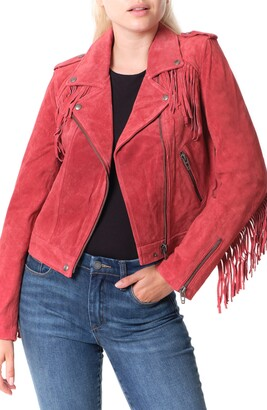 Blank NYC Fringe Trim Suede Moto Jacket