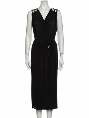 Diane von Furstenberg V-Neck Midi Length Dress Black