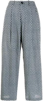 Blue Blue Japan Checkered Flared Trousers
