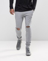 Asos Super Skinny Joggers With Knee Rips In Gray