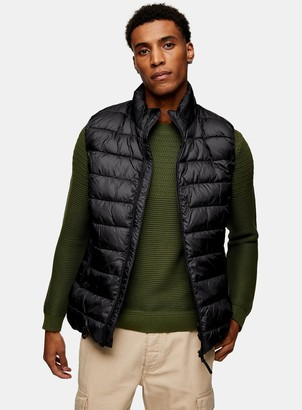 Topman SELECTED HOMME x Plastic Change Black Recycled Puffer Gilet