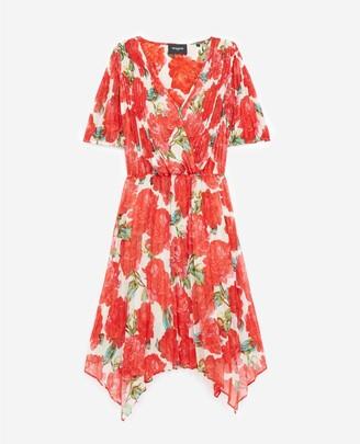 The Kooples Short wrap dress w/pleats & red floral print