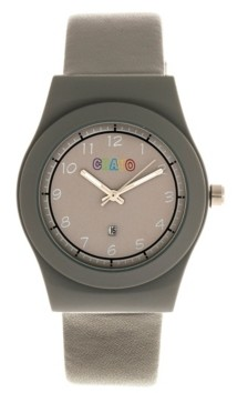 Crayo Unisex Dazzle Gray Genuine Leather Strap Watch 37mm