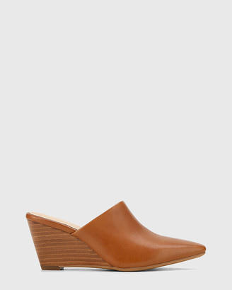 Wittner - Women's Brown Heels - Polina Leather Snib Toe Wedge Mules - Size One Size, 38 at The Iconic